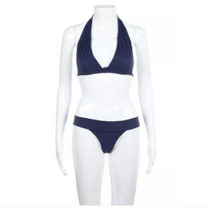 Acacia Swimwear bikini blue halter P Small